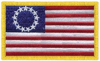 Betsy Ross US flag souvenir embroidered patch.