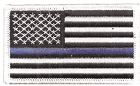 "6834-11 - Thin Blue Line US flag embroidered patch for souvenir or uniform  - 2"" tall x 3.375"" wide - Iron-on backing. Patches are carded for retail rack display. Supports all in Law Enforcement."