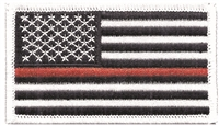 "6834-36 - Thin Red Line US flag embroidered patch for souvenir or uniform  - 2"" tall x 3.375"" wide - Iron-on backing. Patches are carded for retail rack display. Supports all Fire Fighters."
