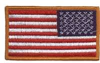 "6834R-G - US flag REVERSE RIGHT side, gold border 1.75"" x 3.25"" uniform or souvenir embroidered patch"