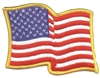 "US wavy flag gold border- 3"" tall x 3.75"" wide uniform or souvenir embroidered patch"