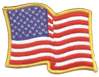 "6836-G - US wavy flag gold border- 3"" tall x 3.75"" wide uniform or souvenir embroidered patch"