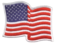 "6836-W - wavy US flag, white border - 3"" tall x 3.75"" wide uniform or souvenir embroidered patch"