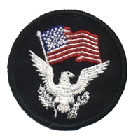6844 - wavy flag & white eagle souvenir embroidered patch
