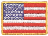 "US flag with gold border - 1"" tall x 1 9/16"" wide uniform or souvenir embroidered patch"