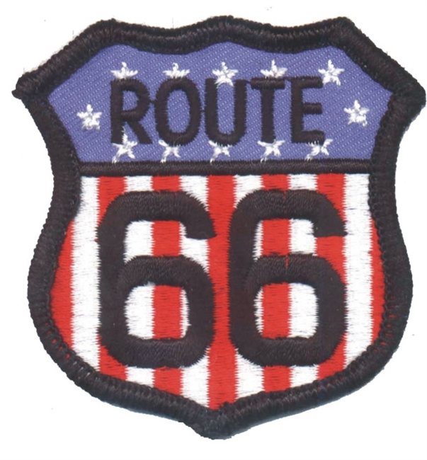 ROUTE 66 on flag souvenir embroidered patch