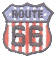 ROUTE 66  on US flag souvenir embroidered patch
