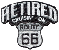RETIRED CRUISIN' ON ROUTE 66 souvenir embroidered patch