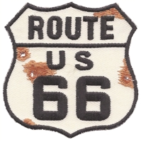6897 - ROUTE US 66 bullet holes & rust sign souvenir embroidered patch
