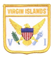 6911 - VIRGIN ISLANDS medium flag shield souvenir embroidered patch