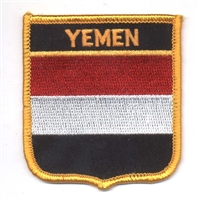 6921 - YEMEN medium flag shield souvenir embroidered patch