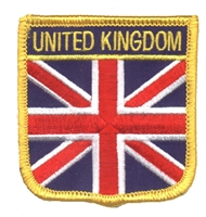 7001 - UNITED KINGDOM medium flag shield uniform or souvenir embroidered patch