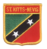 7023 - ST KITTS-NEVIS medium flag shield souvenir embroidered patch