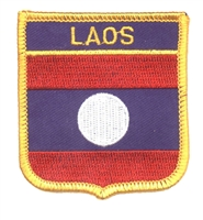 7031 - LAOS medium flag shield souvenir embroidered patch