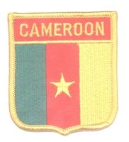 7041 - CAMEROON medium flag shield souvenir embroidered patch