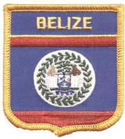 7051 - BELIZE medium flag shield souvenir embroidered patch