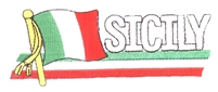 7106 - SICILY wavy flag ribbon souvenir embroidered patch
