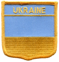 UKRAINE medium flag shield souvenir embroidered patch