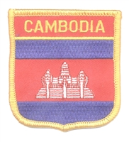 CAMBODIA medium flag shield souvenir embroidered patch