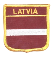 7131 - LATVIA medium flag shield souvenir embroidered patch