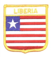 7161 - LIBERIA medium flag shield souvenir embroidered patch