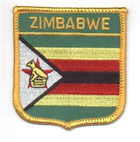 7181 - ZIMBABWE medium flag shield souvenir embroidered patch