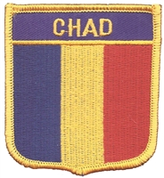 7192 - CHAD medium flag shield souvenir embroidered patch