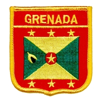 7193 - GRENADA medium flag shield souvenir embroidered patch