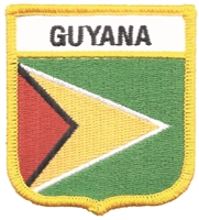 7194 - GUYANA medium flag shield souvenir embroidered patch