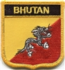 BHUTAN medium flag shield souvenir embroidered patch
