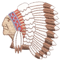 "7210 - Indian head embroidered patch - 2.375"" wide x 2.375"" tall. Patches have an iron-on backing & are carded for a display rack for retailers."