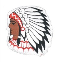 Indian Chief on white souvenir embroidered patch