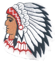 "7212 - Indian Chief- medium on white: 2.875"" x 3.25"" souvenir embroidered patch"