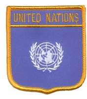 7331 - UNITED NATIONS medium flag shield souvenir embroidered patch