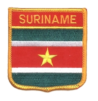7341 - SURINAME medium flag shield souvenir embroidered patch