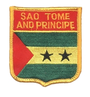 7391 - SAO TOME AND PRINCIPE medium flag shield souvenir embroidered patch