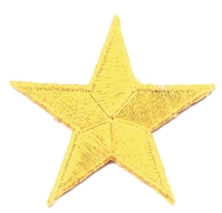"7402 - 1.75"" embroidered star patch. Measured tip of one point to the tip of the point across. Navy Blue, Royal Blue, Gold, Metallic Gold, Red, Metallic Silver, or White. Patches have an iron-on backing & are carded for a display rack for retailers."
