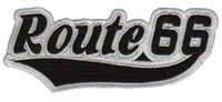 7467-01/58 - Route 66 script black on grey souvenir embroidered patch