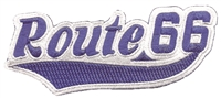 Route 66 script blue on grey souvenir embroidered patch