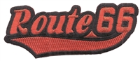 7467-36/01 - Route 66 script, Red on Black souvenir embroidered patch