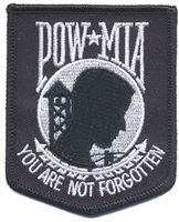 POW MIA YOU ARE NOT FORGOTTEN - white on black embroidered patch