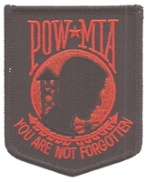 POW-MIA red on black embroidered patch