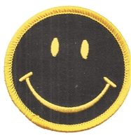 "smile black face fun embroidered patch: 2.5""."