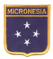 7499 - MICRONESIA medium flag shield souvenir embroidered patch