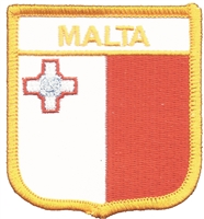 7501 - MALTA flag shield souvenir embroidered patch