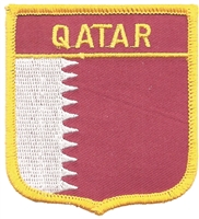 7502 - QATAR medium flag shield souvenir embroidered patch
