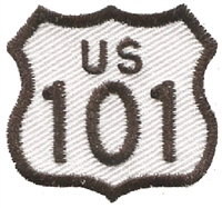 US 101 highway sign souvenir embroidered patch.