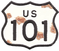 US 101 bullet holes & rust sign souvenir patch.