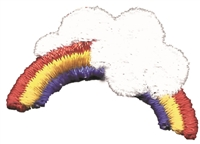 Rainbow & cloud embroidered aetz applique sew on patch.