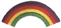 "8211 4 stripe rainbow. Color location alternates. 3.75"" wide x 1"" (height of the actual rainbow stripes) or 3.75"" x 1.75"" (physical height). Patches are carded for retail store display for stores."